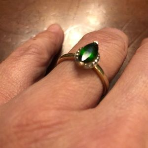Russian Diopside stone gold ring